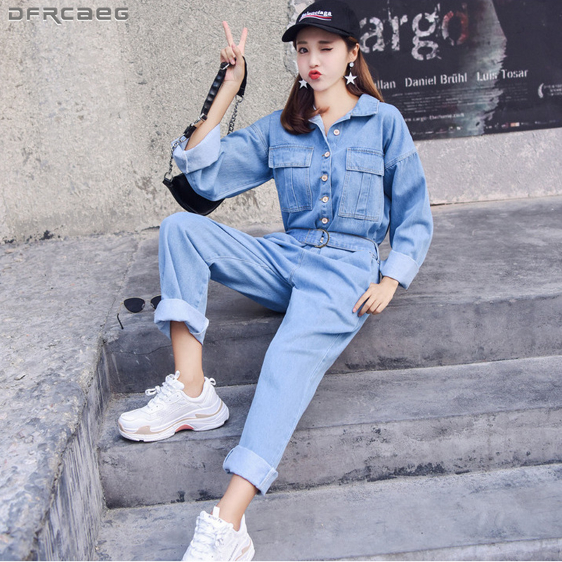 Fashion Streetwear Style Denim Overalls Women 2019 Autumn Long Sleeve Bodysuit High Waist Jeans Bodycon Romper Wide Leg Jumpsuit
