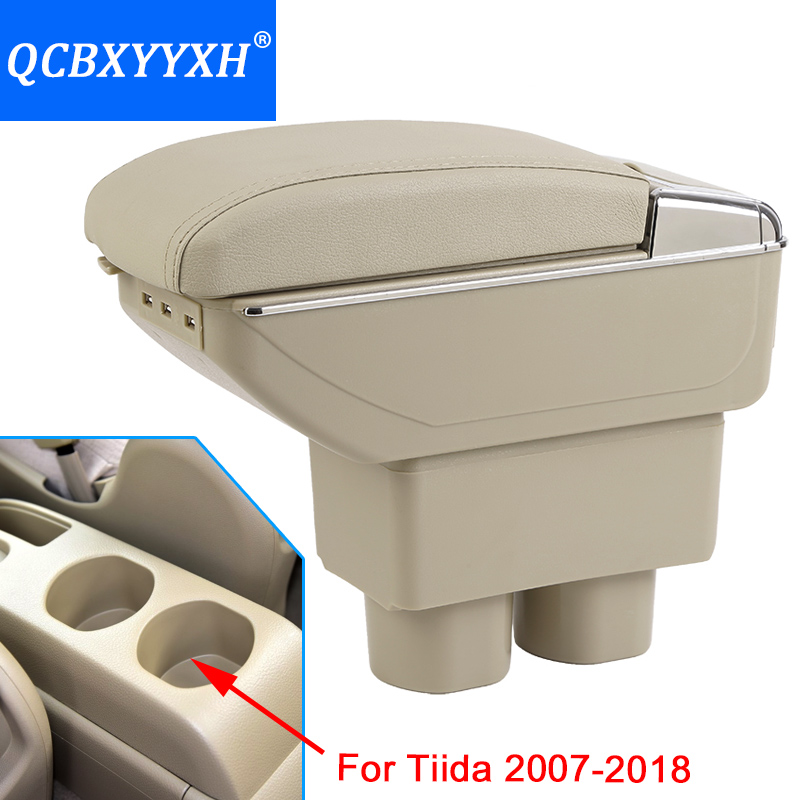Case For Nissan Tiida 2007-2018 Armrest Center Storage Box Black Gray Cream Color ABS Leather With Cup Winner Ashtray Accessory nissan tiida 5d 2007