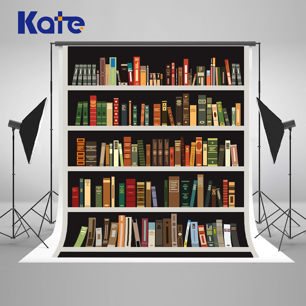 Kate Retro Bookcase School Backdrops For Photographers Children  Backgrounds Backdrops For Studio Washable Background сумка kate spade new york wkru2816 kate spade hanna
