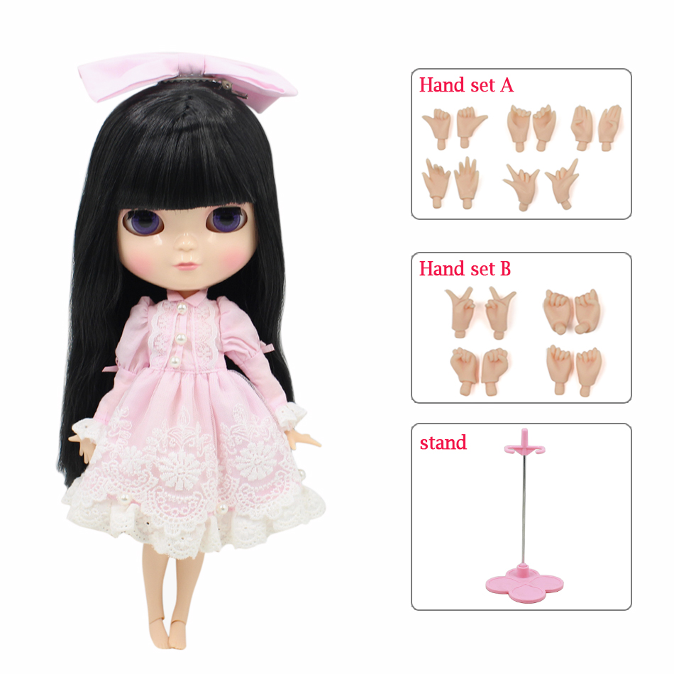 Fortune days ICY doll azone body small chest black hair pink dress white socks shoes stand