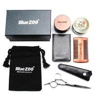 1 Set Men Moustache Cream Beard Wax Kit with Moustache Round Comb Brush Scissors Storage Bag Make the Beard More Smooth Bright