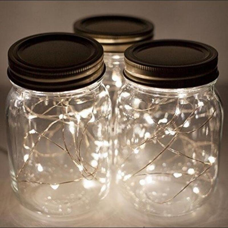 Solar Energy Charge 10 LED Mason Jar Lid Insert Solar Powered Led Mason Jars Light Up Lids Mason Jars Not Included