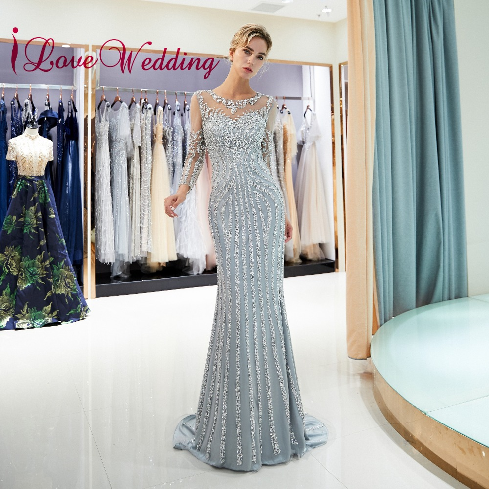 New Arrival 2019 Sexy Mermaid Evening Dresses Custom made Long Sleeves Sliver Beaded Formal Long Evening