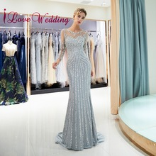 New Arrival 2019 Sexy Mermaid Evening Dresses Custom made Long Sleeves Sliver Be