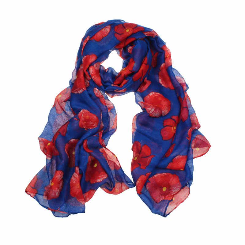 # H30 Herfst Winter Nieuwe Sjaal Vrouwen Red Poppy Print Lange Wrap Hijab Sjaal Katoen Linnen Wrap Stola Dames Sjaal sjaals Bufandas