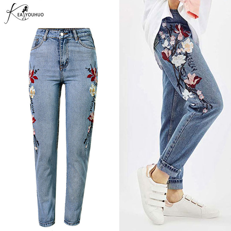 2018 Embroidered Jeans For Women Flower Jeans Female Pencil Denim Pants Rose Pattern Pantalon Femme 44 High Waist Jeans Woman