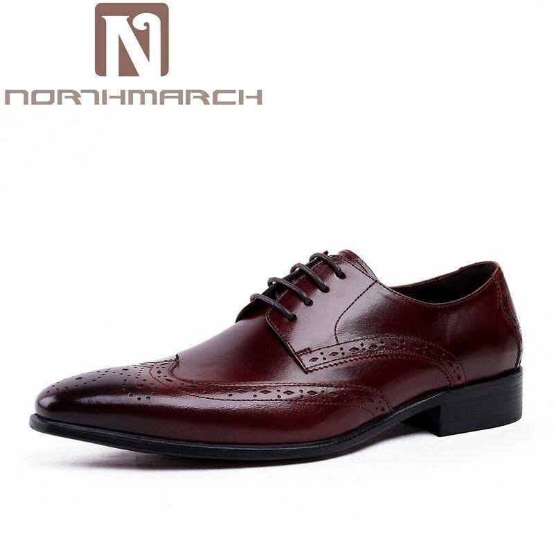 NORTHMARCH Brown Black Lace-Up Handmade Brogue Shoes Genuine Calf Leather Oxford Classic Men Social Shoe Sapatos Homens Oxford oxford borboniqua oxford