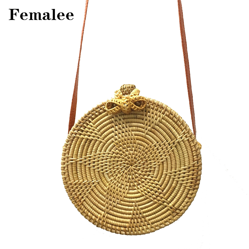 FEMALEE Circular Bowknot Shoulder Bag Rattan Handmade Straw Bags For Women Summer Beach Shoulder Bag Woven Bohemia Crossbody Bag 2 pieces of clothes on the beach summer flowers package original manual bales of straw bag woven rattan high end shoulder