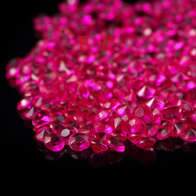 10000pcs Lot 6mm Cerise Pink Color Ter Crystals Confetti Wedding Table Favor Decoration Acrylic Diamond