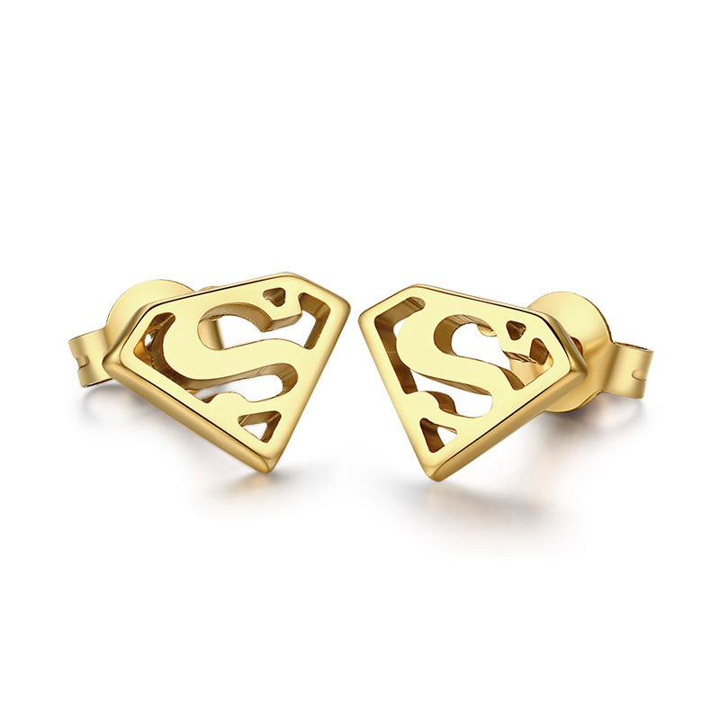 Earrings For Women Fashion Super Men Note Anchor Lips Mini Stud Earring Accessories Gold Color Anium Steel Jewelry No Fade In From