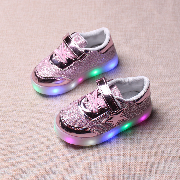 2017 spring and autumn children s shoes stars light boys and girls LED light shoes non