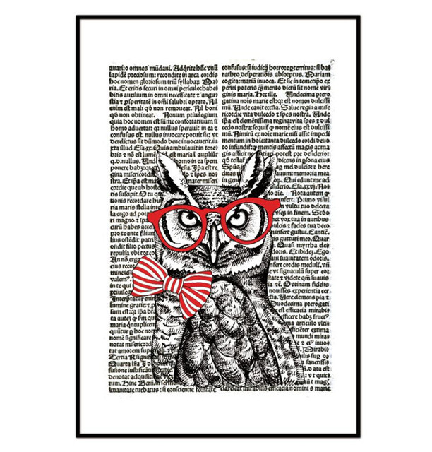 Original Vintage Cartoon Owls With Newspaper Canvas Art Print Painting  Poster, Wall Pictures for Home Decoration, Home Decor-in Painting &  Calligraphy