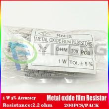 Новинка! (200 шт./лот) (металл-оксид резистор | 1 Вт) 1 Вт 5% оксида металла резистор 2.2 Ом
