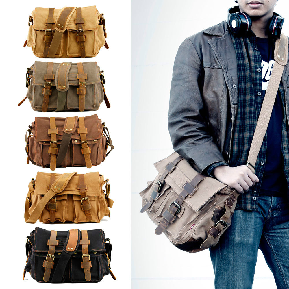 d4a4b96c147a I AM LEGEND Will Smith men messenger bags military vintage canvas genuine  leather cross body bags 14 or 17   laptop satchel bags-in Climbing Bags  from ...