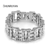SHUNRUYAN Men S Stainless Steel Bicycle Chain Shape Bracelet Creative Personality Titanium Steel Ornaments Punk Style