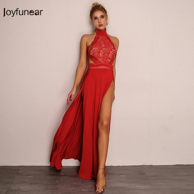 a0fd91b910113 US $25.53 35% OFF|Joyfunear New Chiffon Retro Lace Dress Summer 2018 Women  Sexy Bodycon Floral Red Bandage Dress Elegant Maxi Dresses Vestidos-in ...