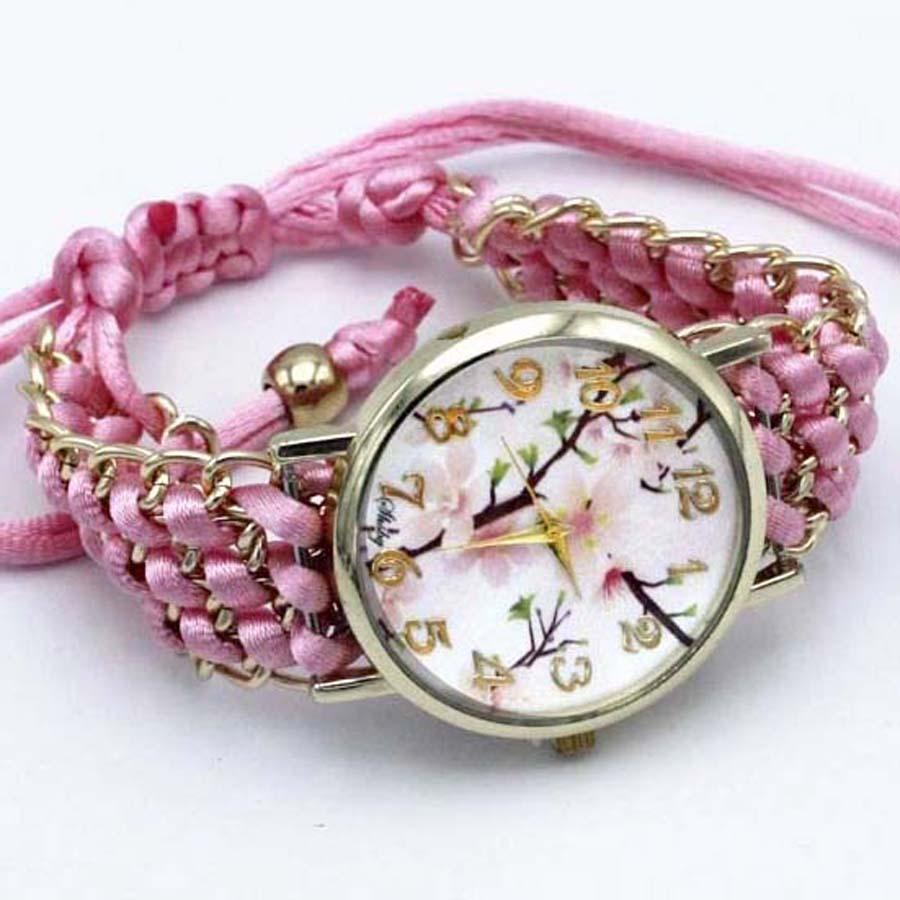 shsby nya Ladies Flower hand-stickade armbandsur guld kvinnor - Damklockor - Foto 5