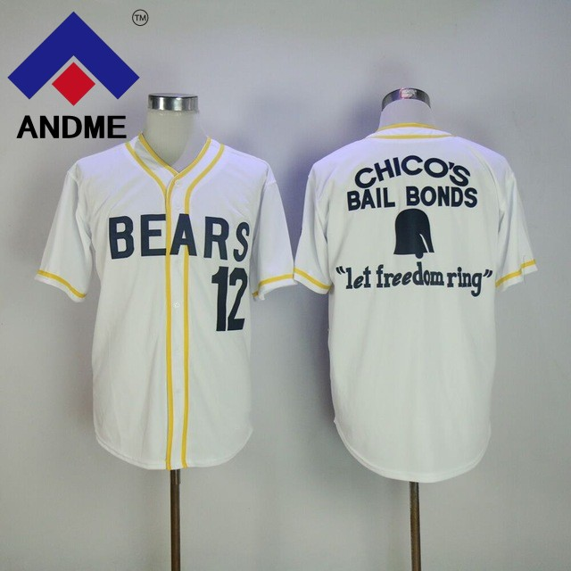 Stitched Bad News Bears Movie 1976 Chicos Bail Bonds WHITE Men Baseball Jersey 3 Leak 12 Tanner Boyle Stitched Size M-3XL