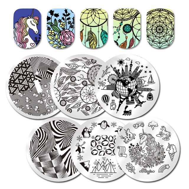 Dream Catcher Round St&ing Plate 5.5cm Penguin Snowflake Flower Animal Geometry St& Template Nail Art  sc 1 st  AliExpress.com & Dream Catcher Round Stamping Plate 5.5cm Penguin Snowflake Flower ...