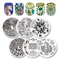 Dream Catcher Round Stamping Plate 5.5cm Penguin Snowflake Flower Animal Geometry Stamp Template Nail Art Image Plate