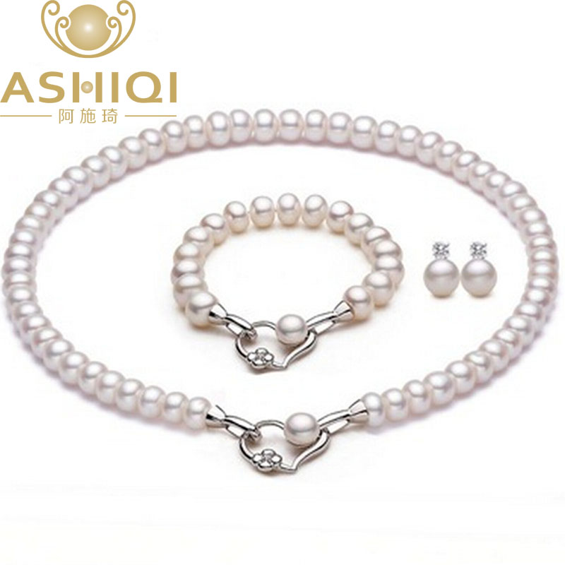 Natural Freshwater Pearl Necklace Bracelet Stud Earrings For women Wedding Accessories Heart Real Pearl Jewelry Sets [meibapj] natural freshwater pearl jewelry sets real pearl necklace earrings ring jewelry sets for women flower jewelry set