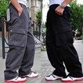 Plus Size Calças Dos Homens Outono Inverno Macacão de Multi Bolso da Calça De Carga Algodão homens Casuais Calças Retas Grande Plus Size 4XL 5XL 6XL