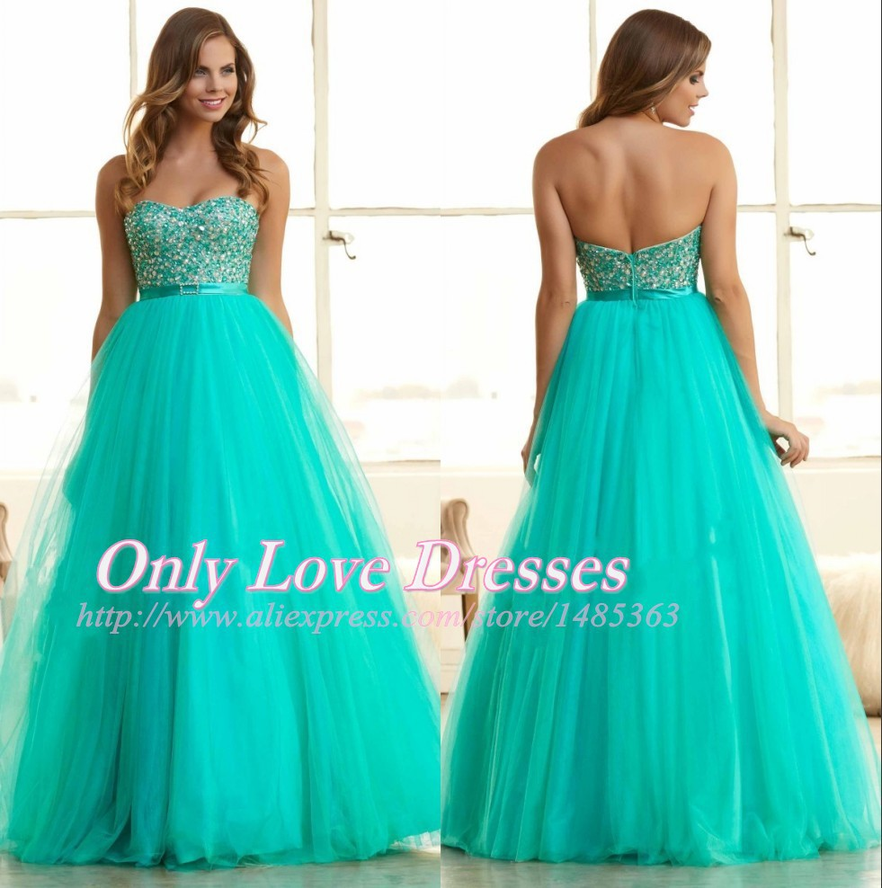 Popular Turquoise Ball Gown Prom Dresses-Buy Cheap Turquoise Ball ...