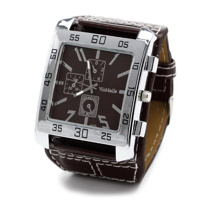 Кварцевые часы модные шикарные с кожаным ремешком Мужские Женские наручные часы квадратный циферблат - Цвет: BN
