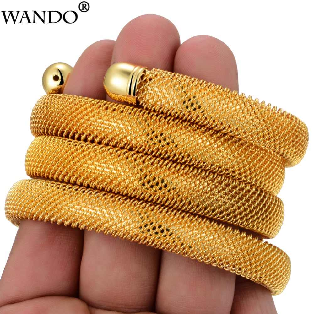 Wando New 4pcs Copper wire Gold Colour Bangles for Women/Girl Trendy Round Open Bracelet Ramadan Dubai Wedding jewelry Gifts b14