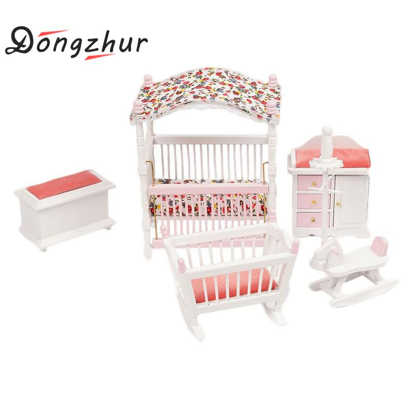 Dongzhur Dolls House 1/12 Scale Miniature Set Pink Baby's Room Model Mini Dollhouse Furniture Doll Bedroom Furniture Sets mini dollhouse mini furniture model living room doll baby baby doll