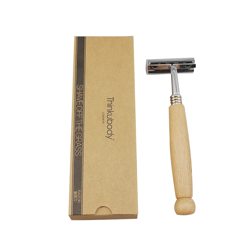 New Solid Wood Head Razor Creative Personality Retro Beard Knife Manual  Non-disposable Stainless Steel Razor