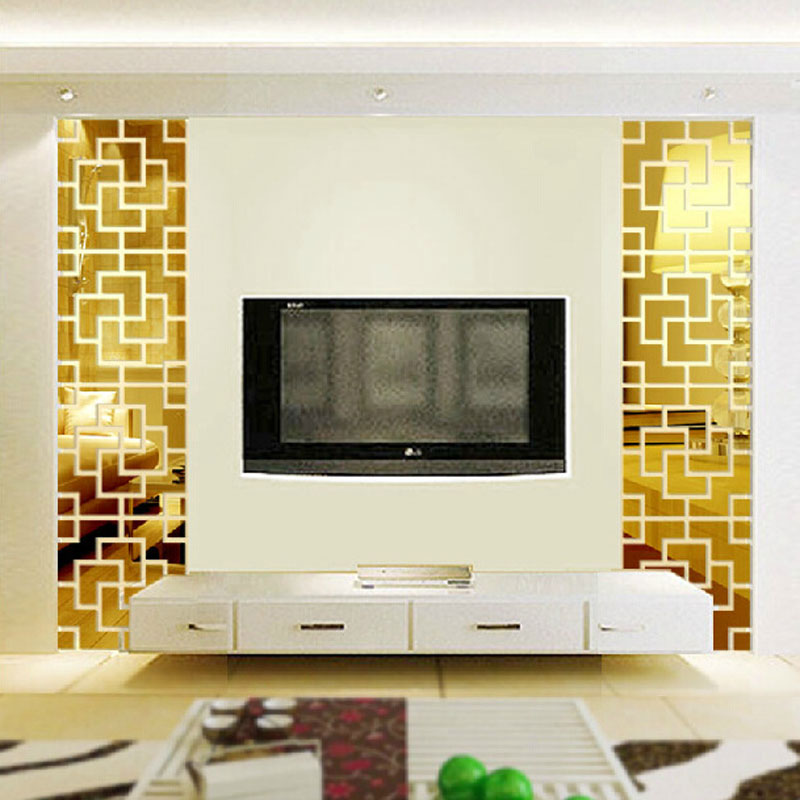 DIY Home Decor Living Room Entrance TV Background Decoration Mirror Wall Stickers Acrylic 3D Mirrored Sticker Mural