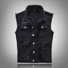 Punk Style Black Hip Hop Rivets Denim Biker Vest Men Slim Coats Male Cowboy Waistcoat Man Sleeveless Jeans Jacket Gilet Homme(China)