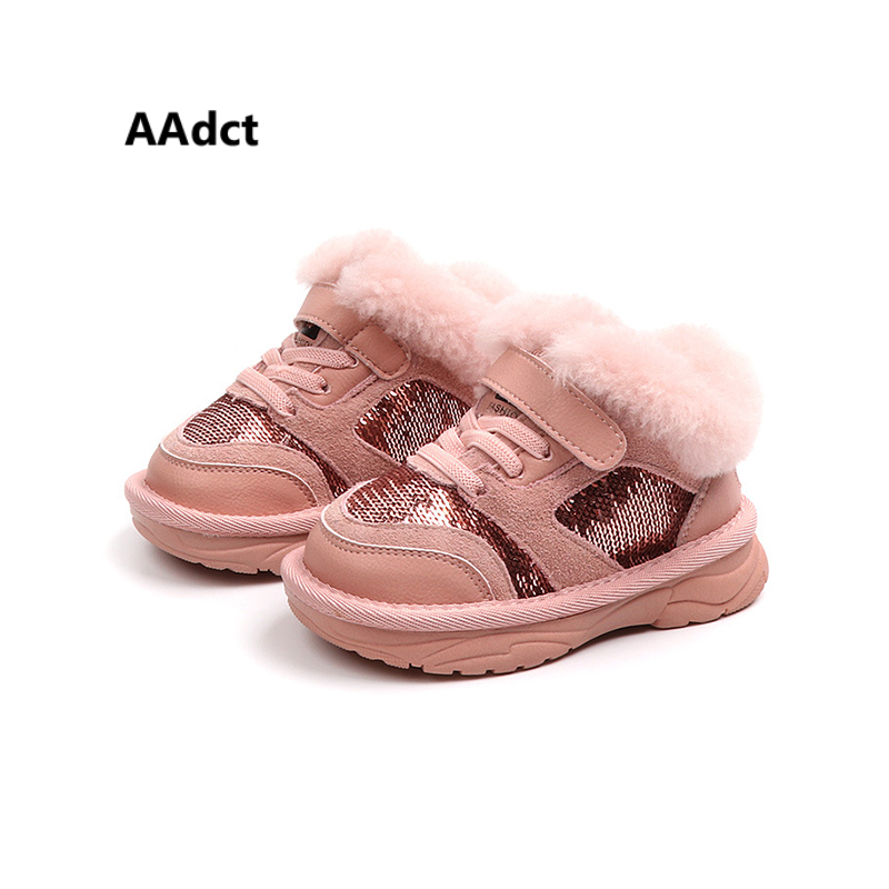 AAdct Cotton shinning snow boots for little girls New fashion baby boots 2018 Winter non-slip little kids boots aadct cotton warm children snow boots for glitter girls new fashion shinning short girls boots 2018 winter kids boots