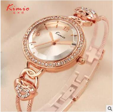 KIMIO Brand Love Heart Chain Women Bracelet Watches Fasion Casual Exquisite Gold Stainless Steel Lady Quartz Wristwatch Relogio cute love heart arrow angel bracelet for women