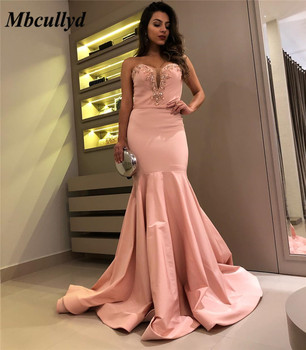 Mbcullyd Mermaid Prom Dresses 2019 Long Sweep Train Evening Dress For Women Shining Beading Crystal Sweetheart Robe de soiree