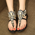 2016 Rhinestone Shoes Woman Diamond Roman Sandals Women Flip Flop Women Crystal Flat Beach Summer Shoes Sapatos Femininos Black