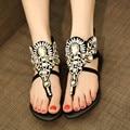 2016 Rhinestone Shoes Woman Diamond Roman Sandals Women Flip Flop Women Crystal Flat Beach Summer Shoes Sapatos Femininos Black