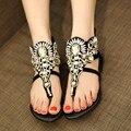 2016 Sapatos de Strass Mulher Diamante Sandálias Romanas Mulheres do Falhanço de Aleta Da Praia do Verão Das Mulheres de Cristal Plana Sapatos Sapatos Femininos Preto