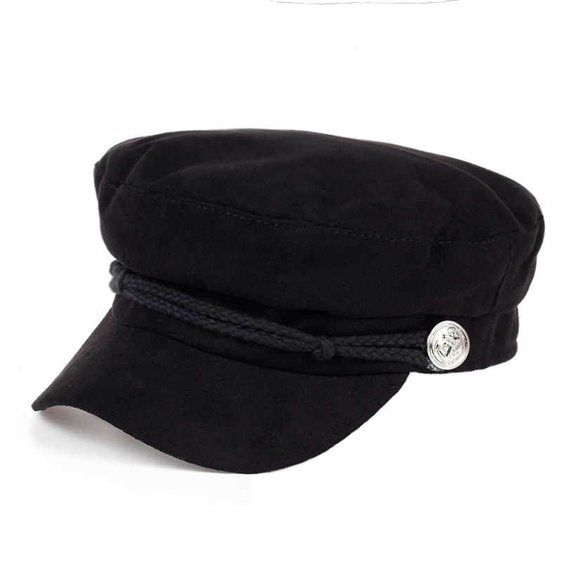 de68fe1a 2017 new Wool navy Cap Flat Top Army Navy Caps Fashion Wool Hat Black For  Women