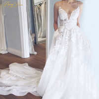 BeryLove Sexy A Line White Tulle Lace Wedding Dresses 2019 V Neck Backless Long Train Wedding Gowns Bridal Gowns Dresses Wedding