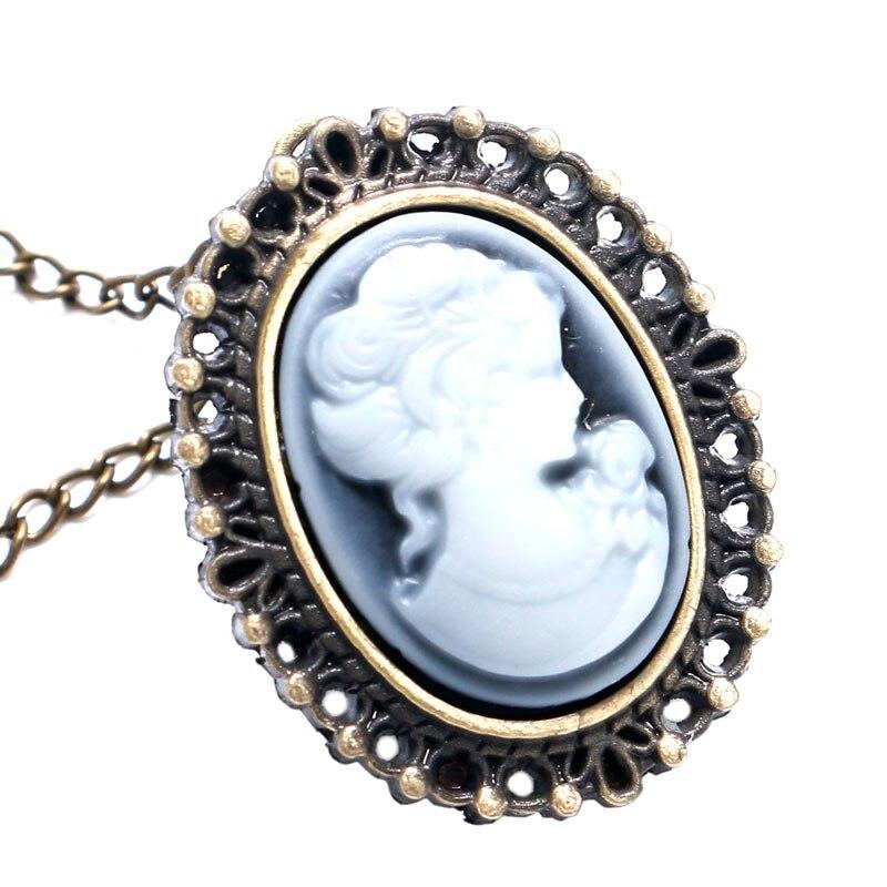 Bronze White Lady Beauty Quartz Pocket Watch Necklace Pendant Girl Women Small
