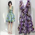2016 мода африканская dress для женщин африки purple dress v шеи дизайн с кружевом внизу по продажам 100% реальный воск африканская ткань