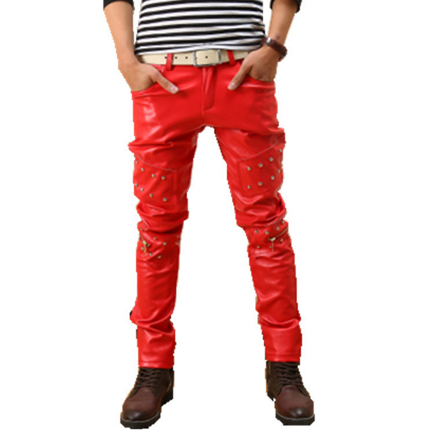 Red Rivet Pu Faux Leather Jacket For Men Street Wear Punk Tights Mens Pants Joggers Skinny Fleece Male Hiphop Trousers Brand