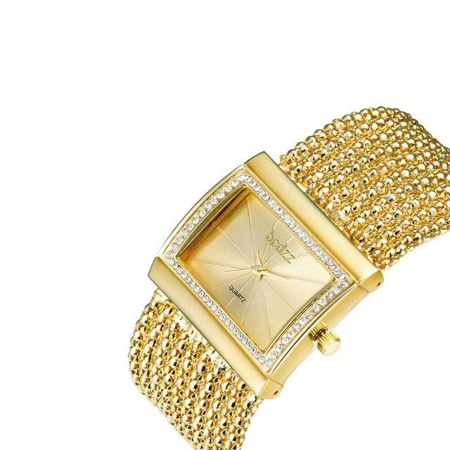 Hot 2018 New Arrive Women Dress Watches, Silver Gold Alloy Chain Band Analog Quartz Wrist Bracelet Watch