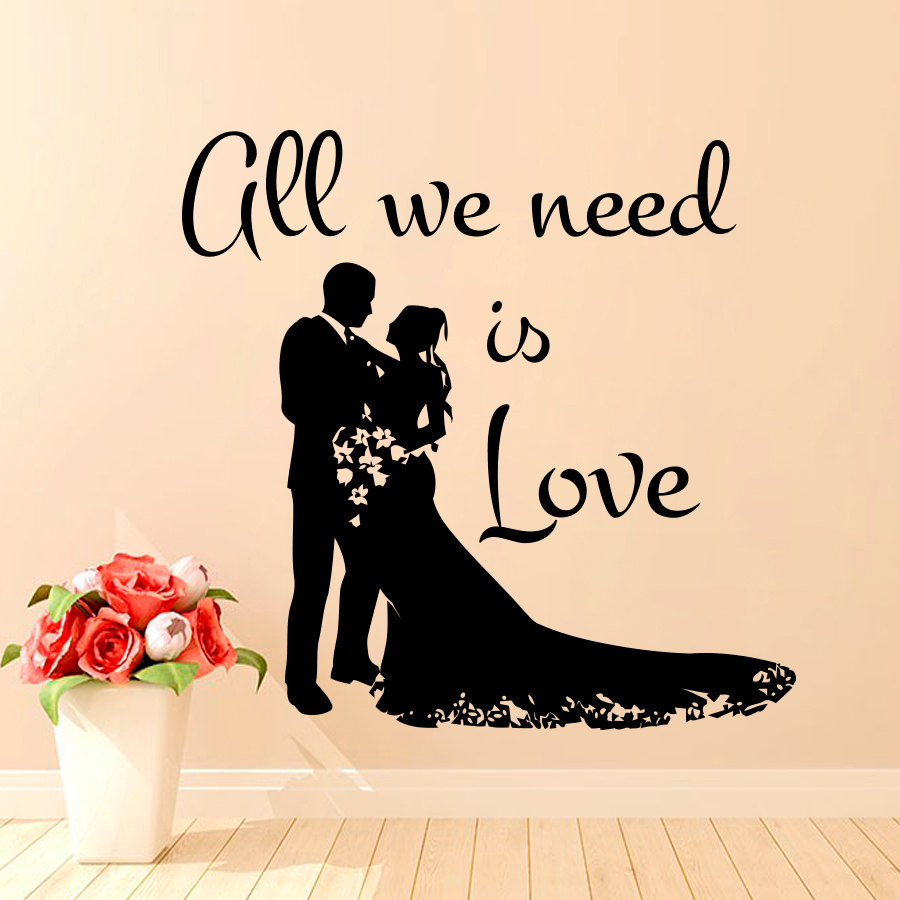 Wedding Wall Stickers Lover Couples Silhouette Decal Vinyl