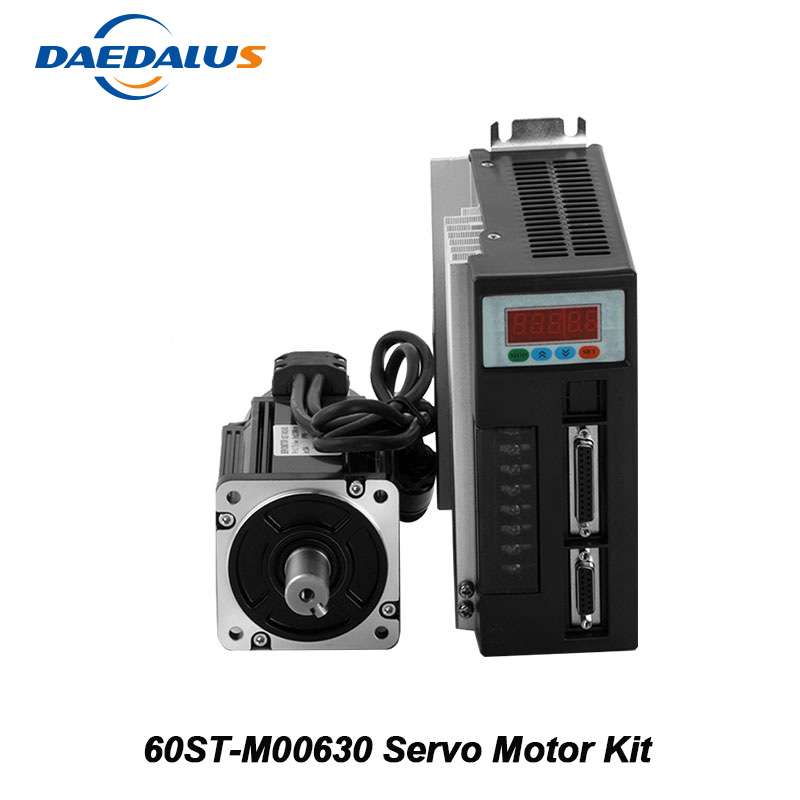 60ST-M00630 220V AC Servo Motor 0.2KW 3000RPM Single-Phase Motor AC Drive Permanent Magnet Matched Driver With Encoder Cable