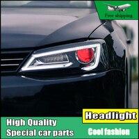 Автомобиль голове стиль лампа чехол для VW Jetta MK6 2012 2016 фары светодиодный свет фар Бар DRL течет отложным воротником сигнал Биксеноновая объект
