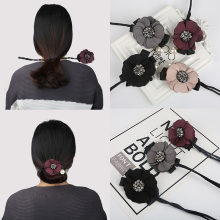 Flower Pearl Pendant Hair Bun Maker