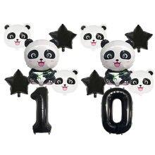 Ballons en aluminium noirs 32 pouces, Set décoratif pour fête d'anniversaire pour enfants avec des dessins animés en forme de Panda, jouets de fête en forme de Jungle pour enfants